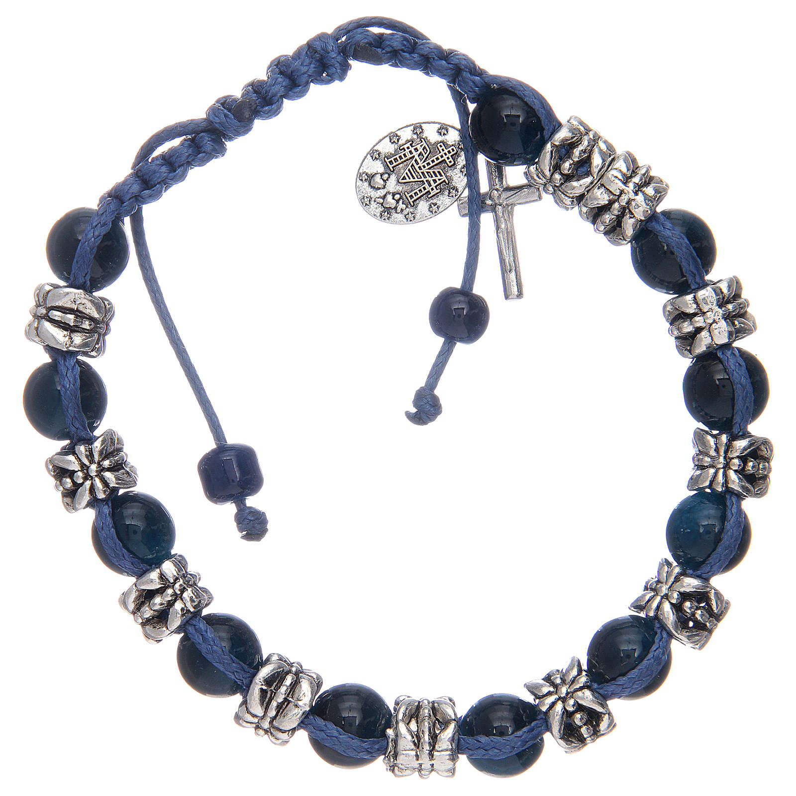 Bracciale con grani in vetro e metallo su cordoncino blu 4