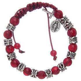 Single decade rosary bracelets: Bracelet with glass grains 8 mm on red cord