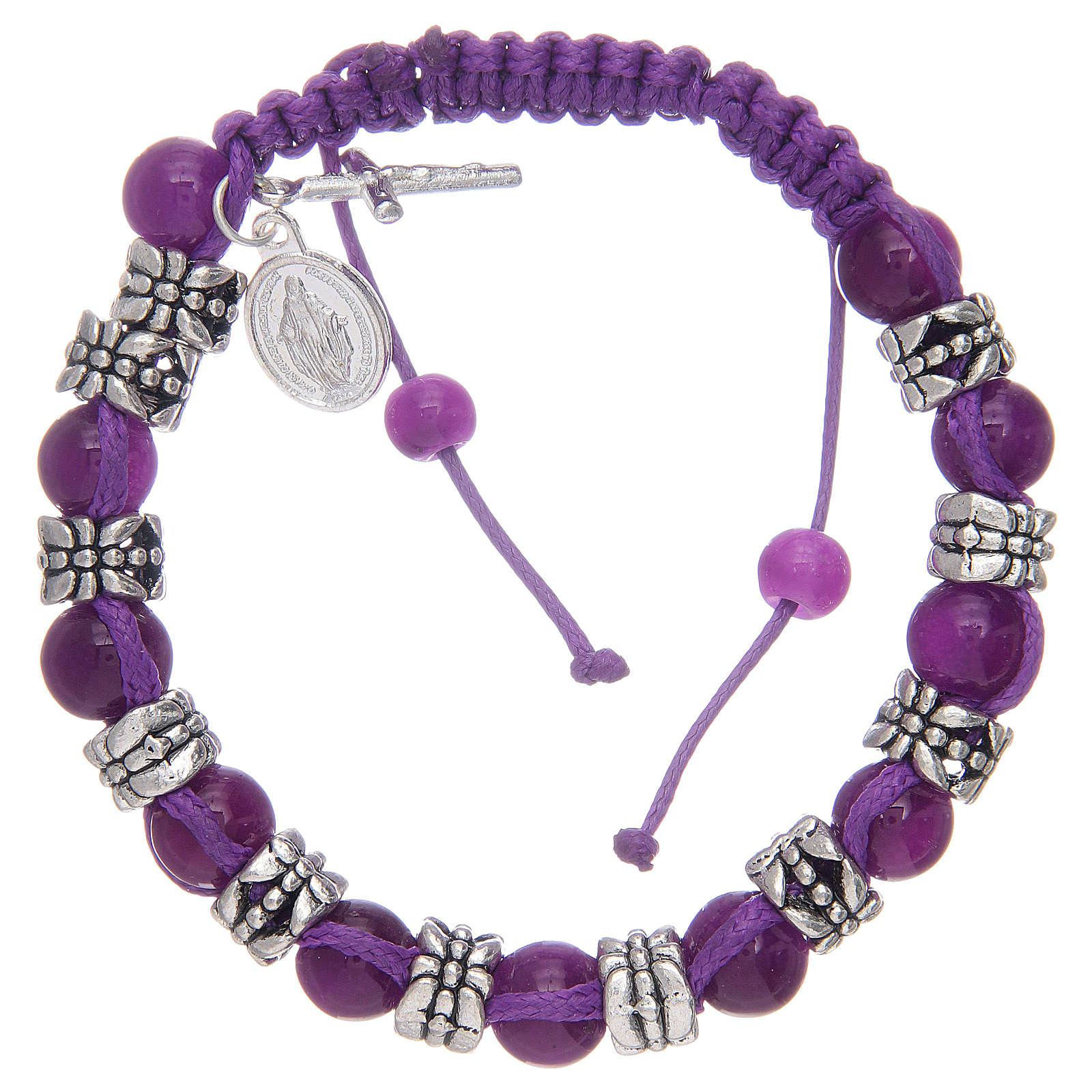 Bracelet avec grains en verre et métal sur corde coloré 4