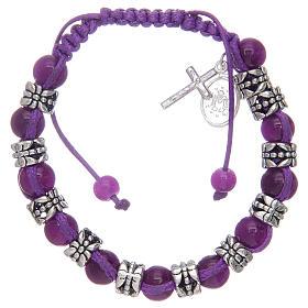 Bracelet avec grains en verre et métal sur corde coloré s2