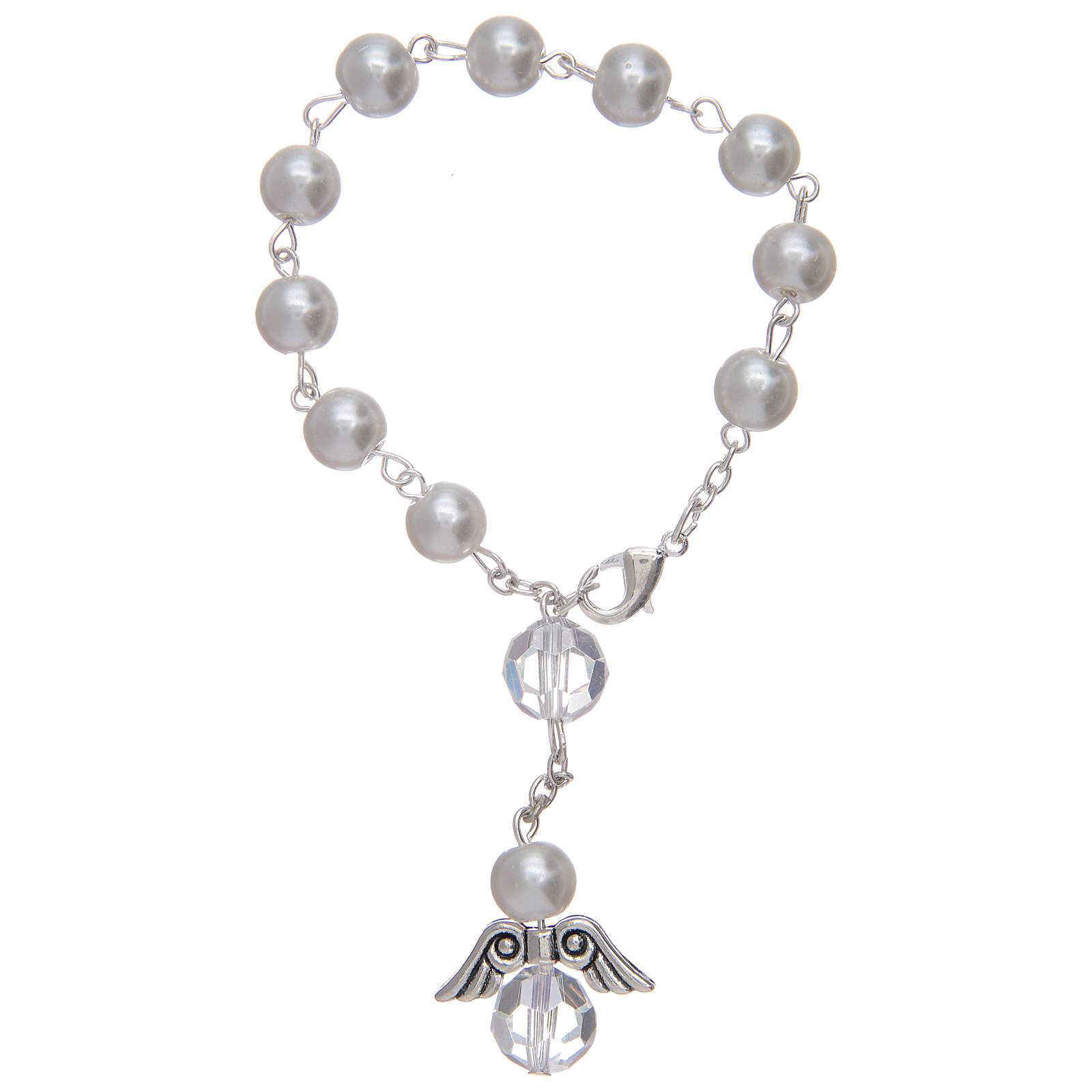 Dozen rosary bracelet with angel pearl imitation white and crystal 4