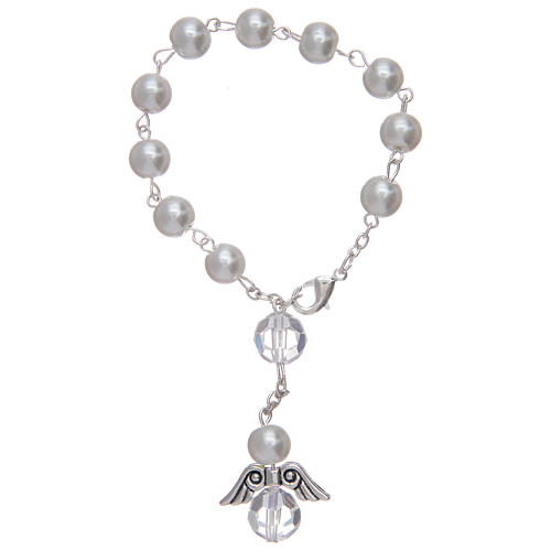 Dozen rosary bracelet with angel pearl imitation white and crystal 2