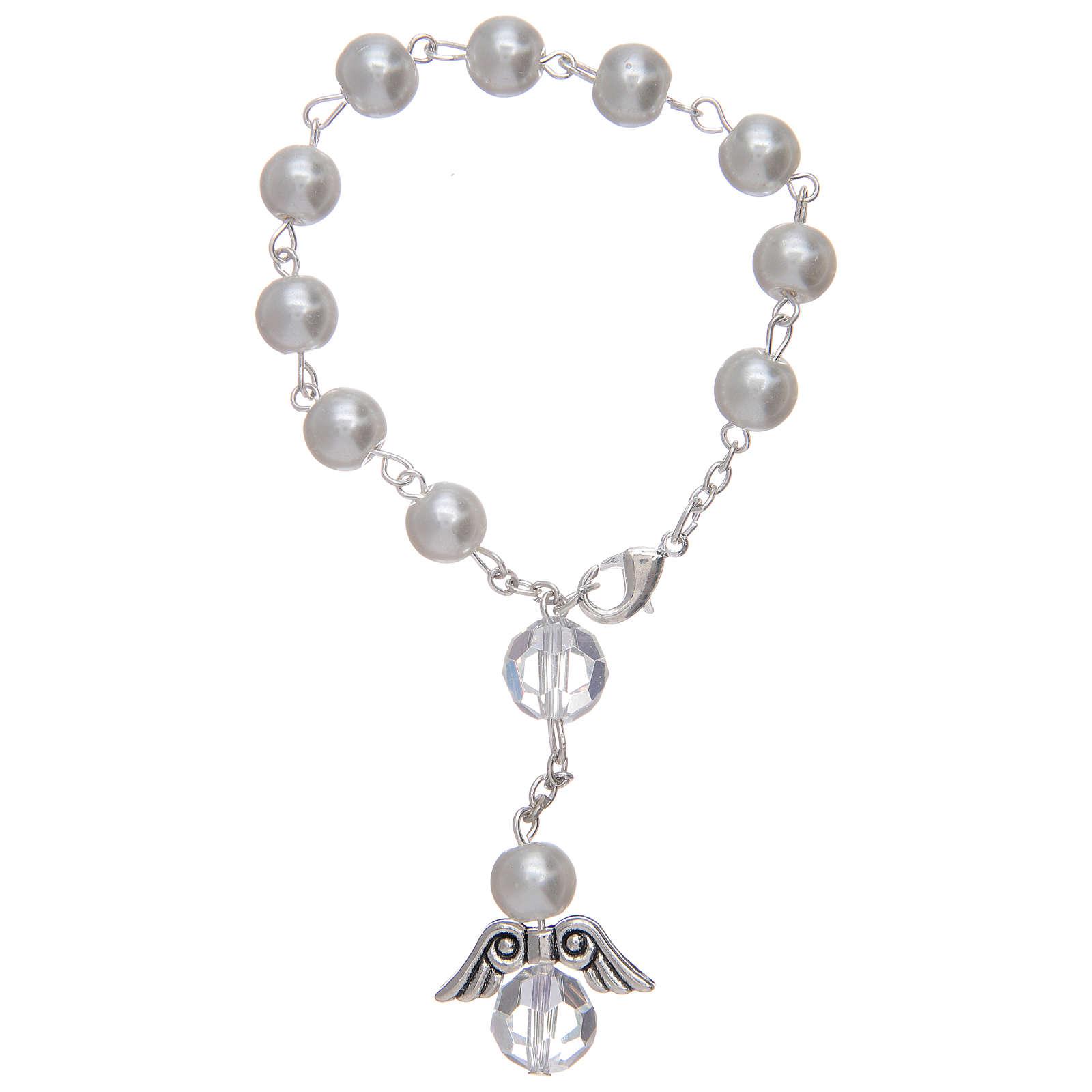 Rosario decena con angelito de vidrio nacarado blanco y cristal 4