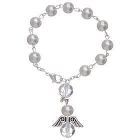 Rosario decena con angelito de vidrio nacarado blanco y cristal s1