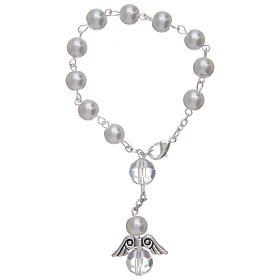 Rosario decena con angelito de vidrio nacarado blanco y cristal s2