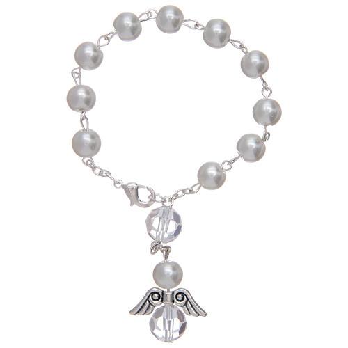 Rosario decena con angelito de vidrio nacarado blanco y cristal 1