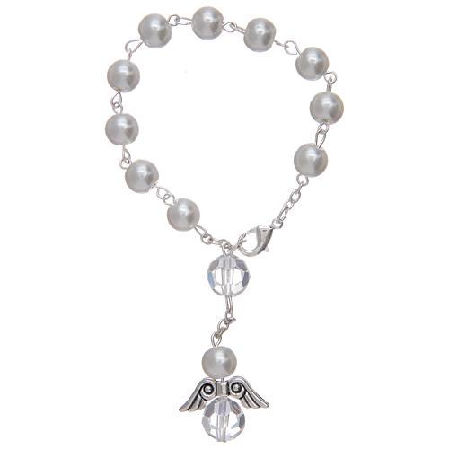 Rosario decena con angelito de vidrio nacarado blanco y cristal 2