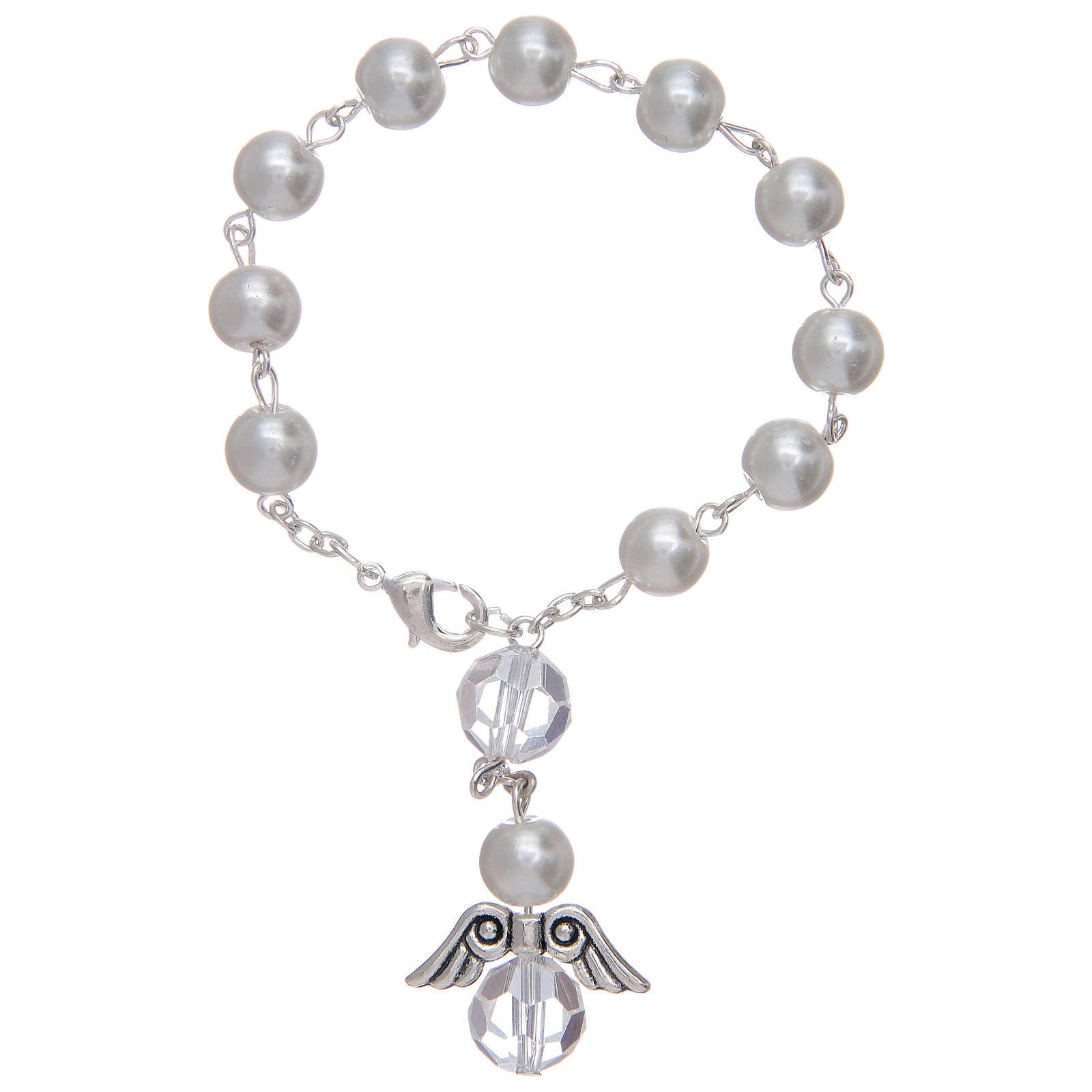 Dezena com anjo em vidro imitação madrepérola branca e cristal 4