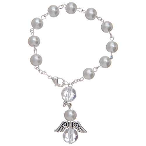 Dezena com anjo em vidro imitação madrepérola branca e cristal 1