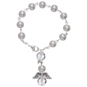 Dozen rosary bracelet with angel pearl imitation white and crystal s1