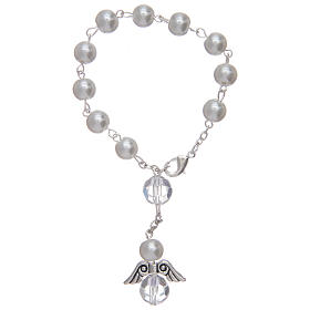 Dozen rosary bracelet with angel pearl imitation white and crystal s2