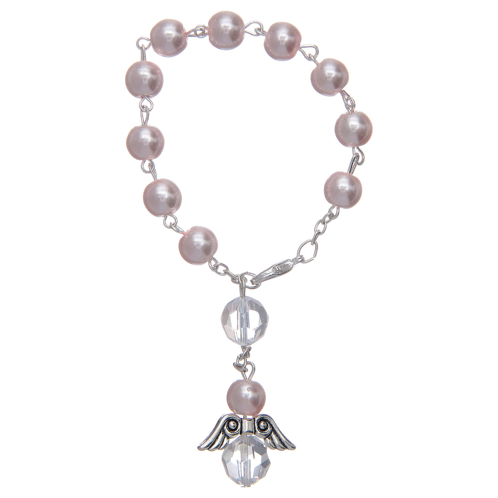 Dozen rosary bracelet with angel pearl imitation pink and crystal 4