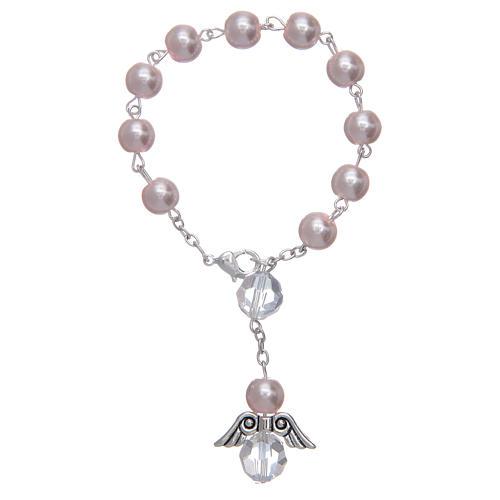 Rosario decena con angelito de vidrio nacarado rosa y cristal 1