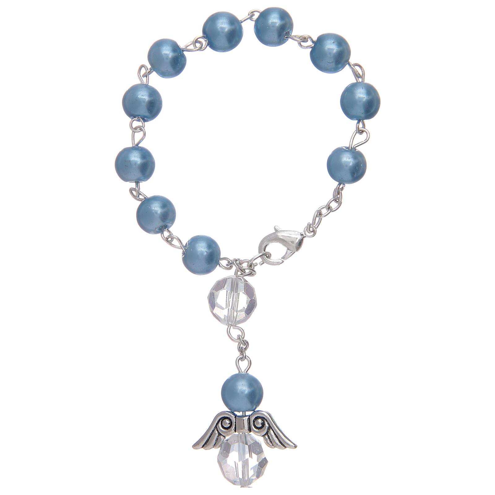 Rosario decena con angelito de vidrio nacarado azul y cristal 4