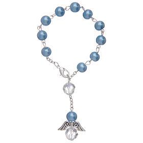 Rosario decena con angelito de vidrio nacarado azul y cristal s1