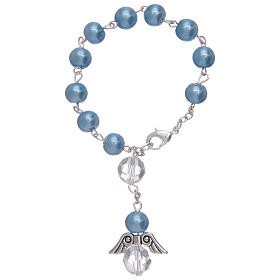 Rosario decena con angelito de vidrio nacarado azul y cristal s2