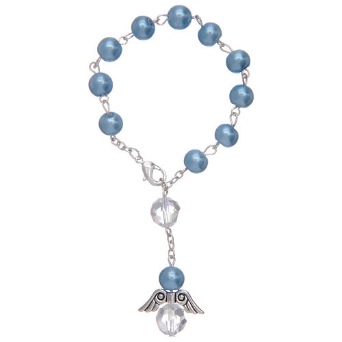 Rosario decena con angelito de vidrio nacarado azul y cristal 1