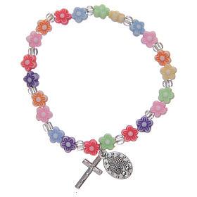 Bracelet élastique avec grains multicolore en forme de fleur s2