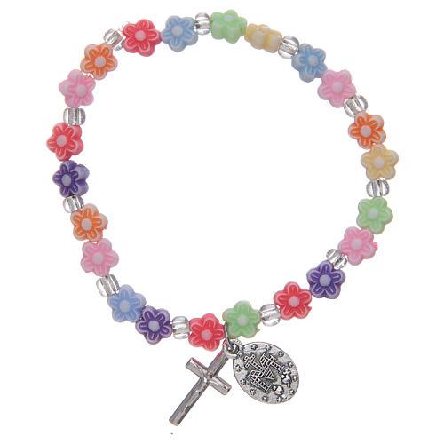 Bracelet élastique avec grains multicolore en forme de fleur 2