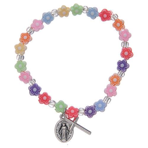 Bracciale elastico con grani multicolore a forma di fiore 1