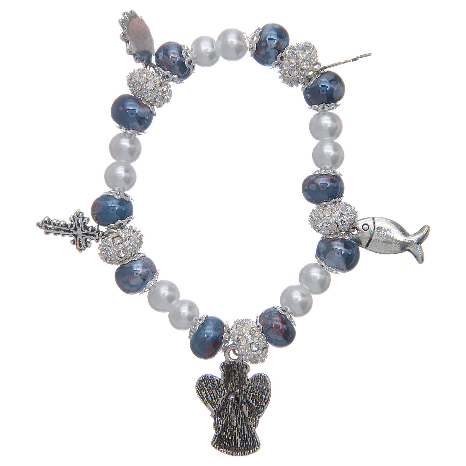 Elastic bracelet with grains decorated in blue and pendants with Christian symbols 4