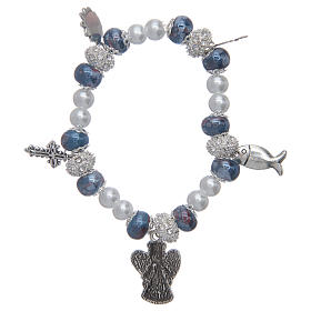 Elastic bracelet with grains decorated in blue and pendants with Christian symbols s2
