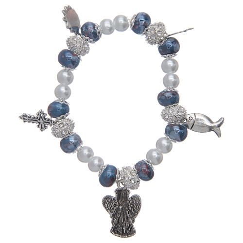 Elastic bracelet with grains decorated in blue and pendants with Christian symbols 2