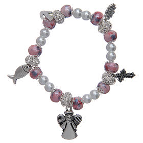 Single decade rosary bracelets: Elastic bracelet with grains decorated in pink and pendants with Christian symbols