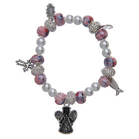 Bracelet élastique avec grains décorés roses et breloques symboles chrétiens s2