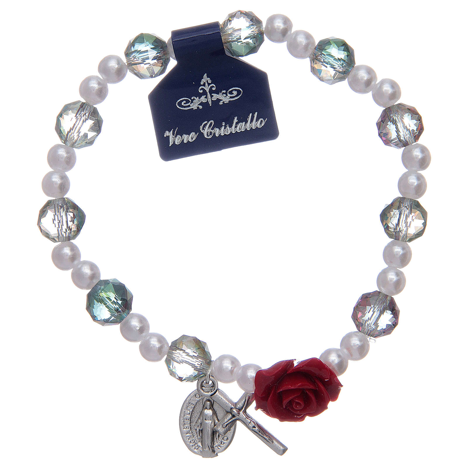 Elastic bracelet with grey grains and rose shaped pater 4
