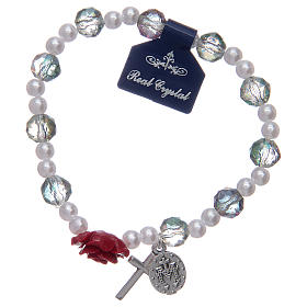 Elastic bracelet with grey grains and rose shaped pater s2