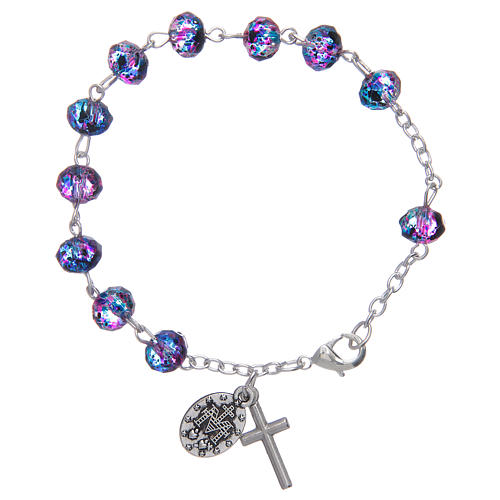 Bracelet with chain and glass multifaceted grains purple/black 2