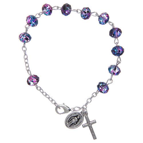 Bracciale su catena con grani sfaccettati in vetro viola/nero 1