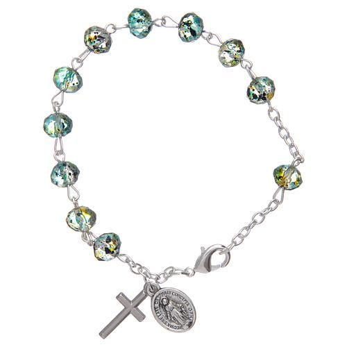 Bracelet sur chaîne avec grains à facettes en verre vert/noir 1