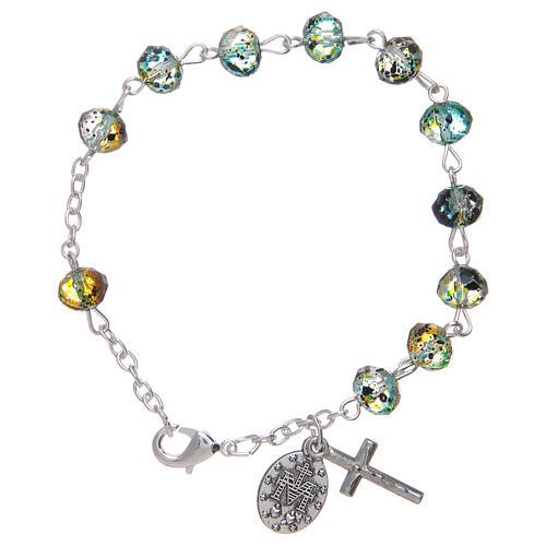 Bracelet sur chaîne avec grains à facettes en verre vert/noir 2