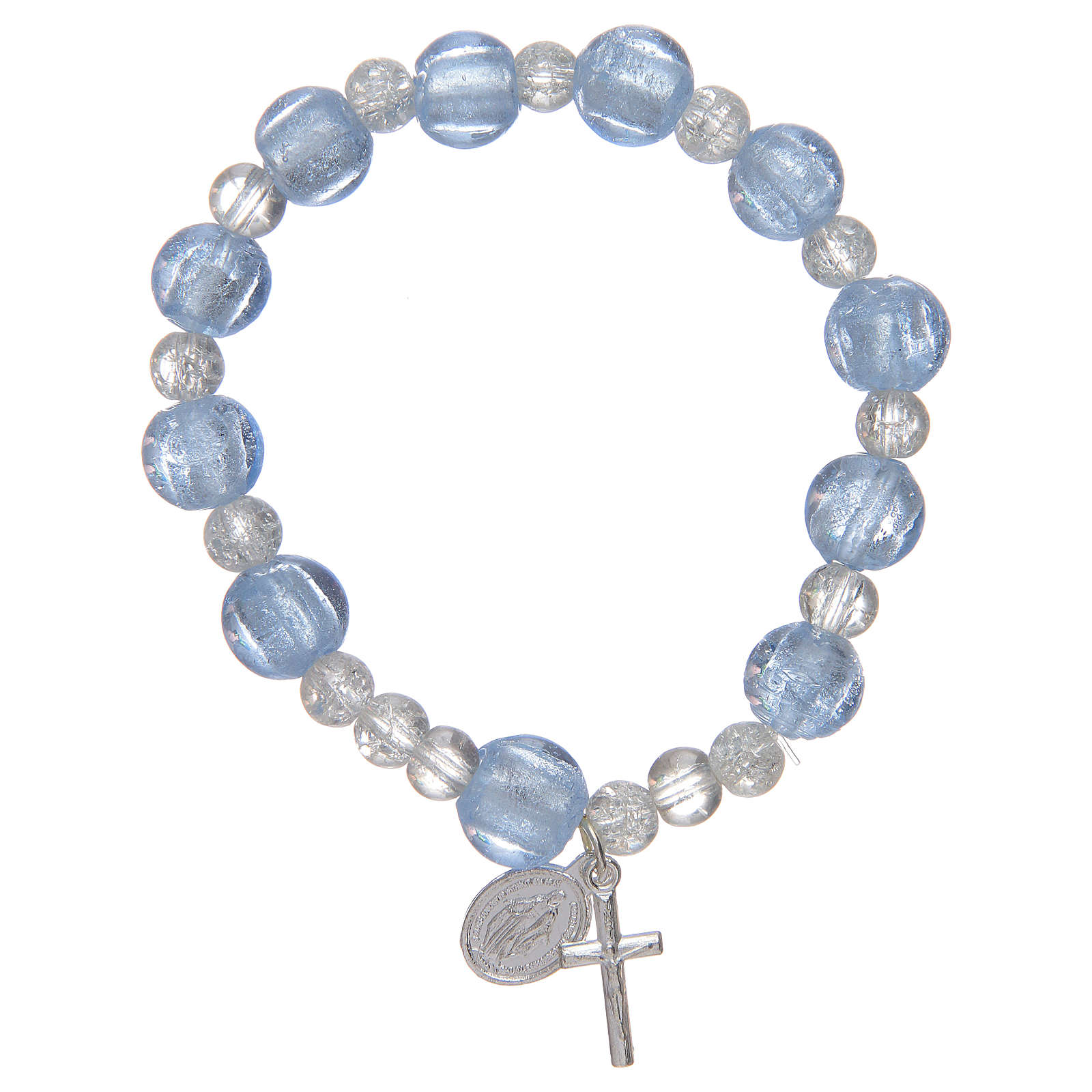 Bracciale rosario in azzurro con grani in vetro con foglia argento 4