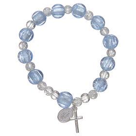 Bracciale rosario in azzurro con grani in vetro con foglia argento s1