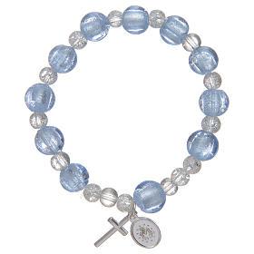 Bracciale rosario in azzurro con grani in vetro con foglia argento s2