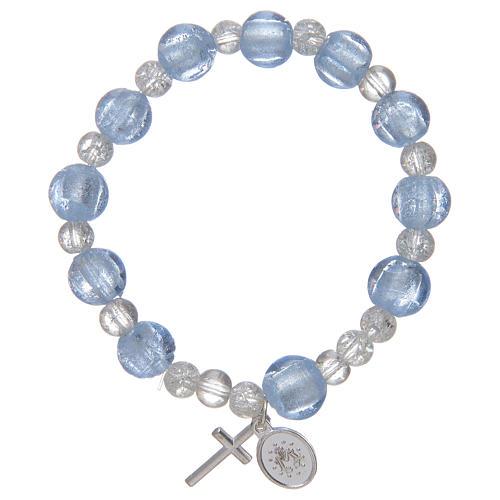 Bracciale rosario in azzurro con grani in vetro con foglia argento 2