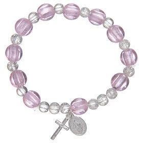 Bracciale rosario di colore rosa con grani in vetro con foglia argento s1