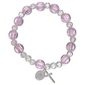 Bracciale rosario di colore rosa con grani in vetro con foglia argento s2