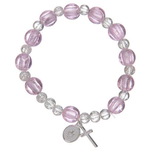 Bracciale rosario di colore rosa con grani in vetro con foglia argento 2