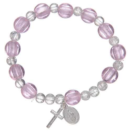 Rosary bracelet pink with glass grains and silver leave 1