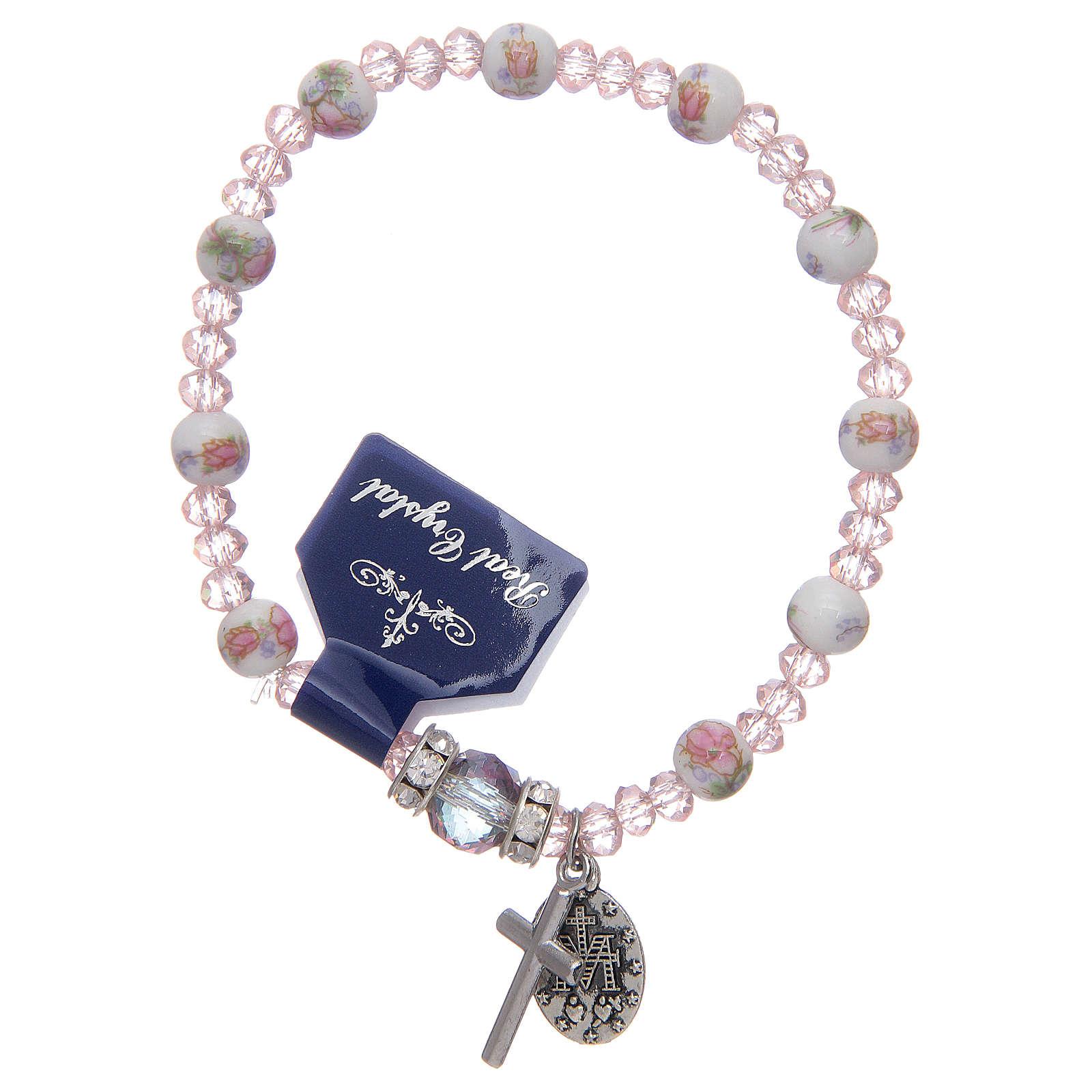 Bracelet élastique avec grains en céramique 6 mm et cristal 3x4 mm divers coloris 4