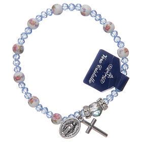 Bracelet élastique avec grains en céramique 6 mm et cristal 3x4 mm divers coloris s1