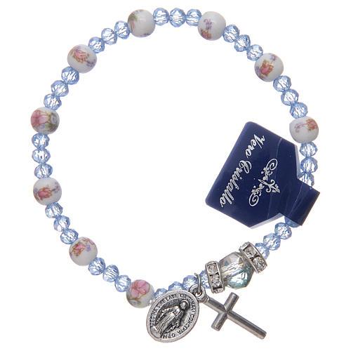 Bracelet élastique avec grains en céramique 6 mm et cristal 3x4 mm divers coloris 1