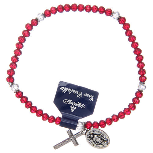 Rosary bracelet with crystal grains assorted colours 1