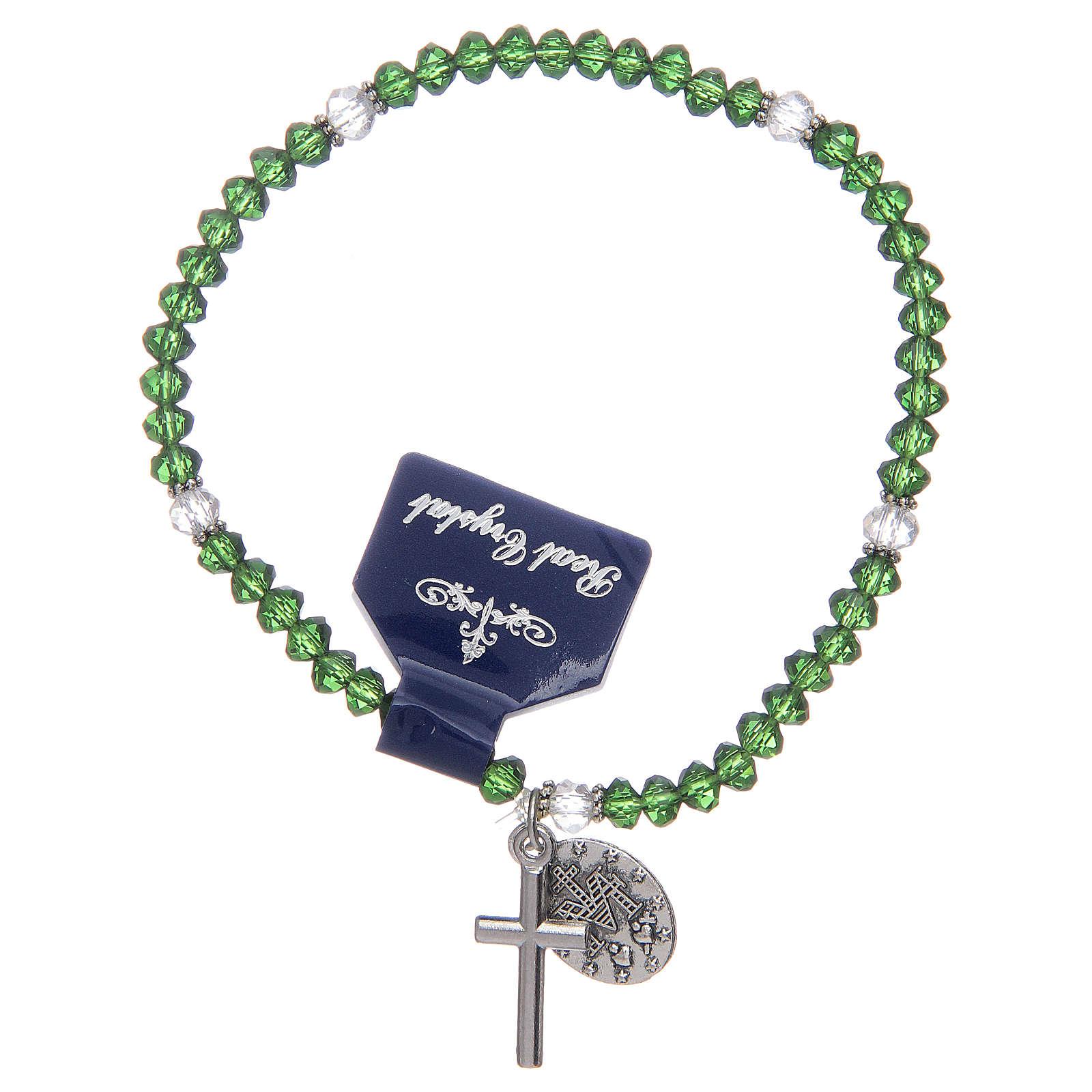 Pulsera rosario con granos de cristal con colores surtidos 4