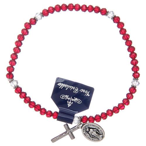 Pulsera rosario con granos de cristal con colores surtidos 1