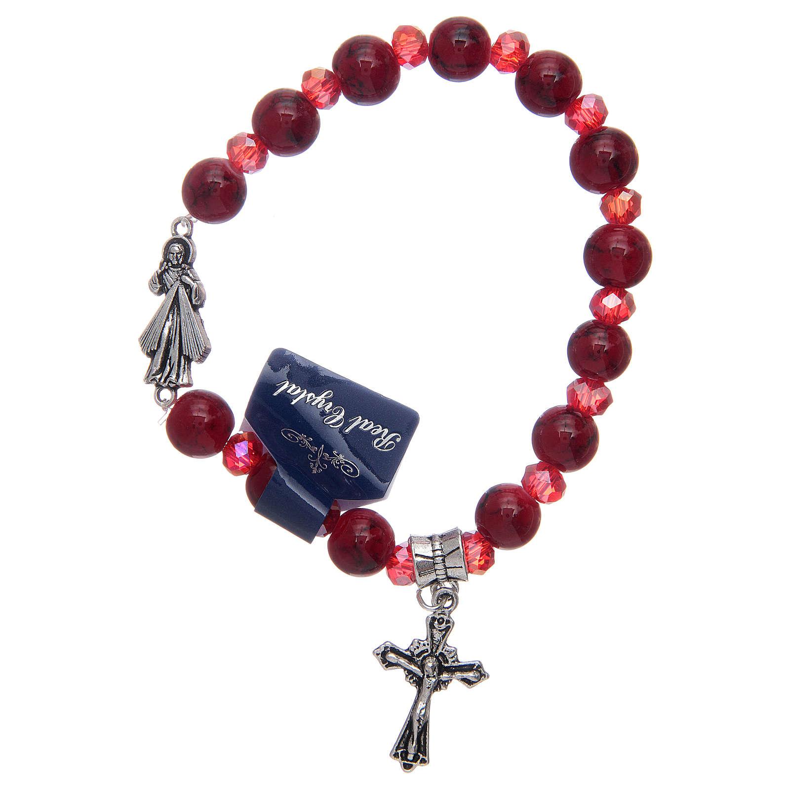 Bracciale elastico con grani in vetro rosso Gesù Misericordioso 4